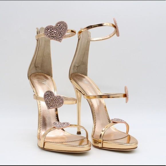 7eaa9d61de71 Authentic Giuseppe Zanotti Metallic Heart Sandals